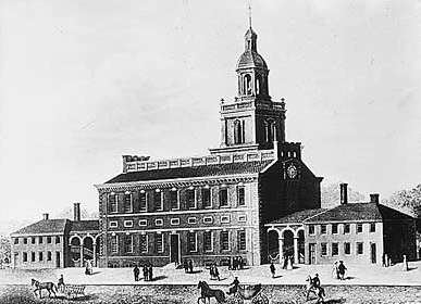 Independence Hall in Philadelphia in the 1770s.