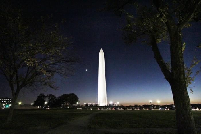 Washington Monument at night.