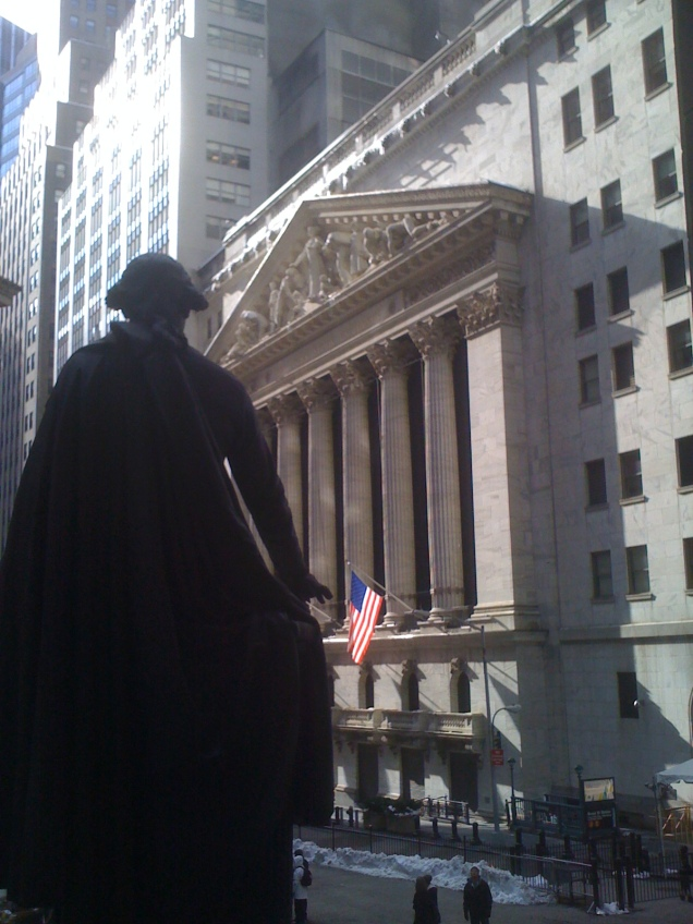 View of the New York Stock Exchange across Wall Street.