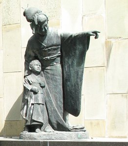 Madama Butterfly statue in Glover Garden, Nagasaki, Japan