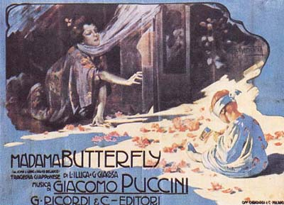 An original poster from an early production of Madama Butterfly.