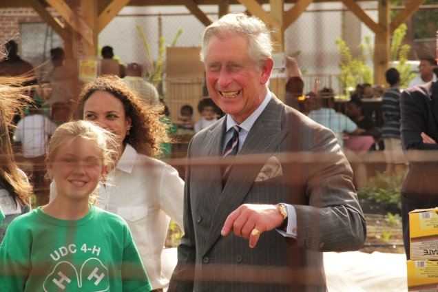 Prince Charles touring the Community Good City Farm in LeDroit Park