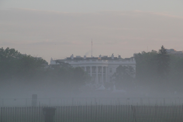 South Lawn of the White House in the morning mist