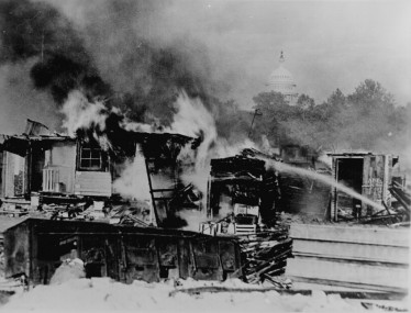 Burning Bonus Army Camp in sight of Capitol Dome