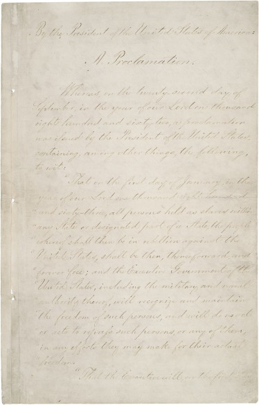 The first page of the fragile Emancipation Proclamation. (Photo: National Archives)