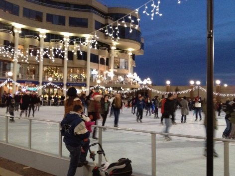 Ice skating at Washington Harbour in Georgetown.