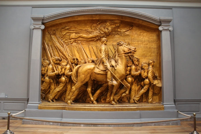 Shaw Memorial's plaster sculpture at the National Gallery.