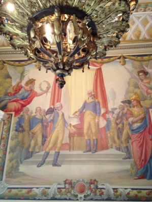 A mural in the sumptuous Anderson House showing Washington and Lafayette and the founding of the Society of the Cincinnati.