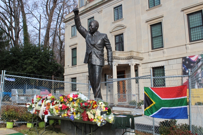 Mandela's statue in front of the South African Embassy.