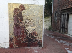 A mosaic mural in Blagden Alley.