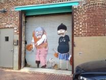 Contemporary mural in Blagden Alley.