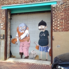 Contemporary mural in Blagden Alley.
