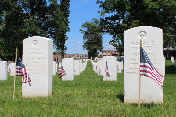 Grave sites at USSAH National Cemetery decorated for Memorial Day.