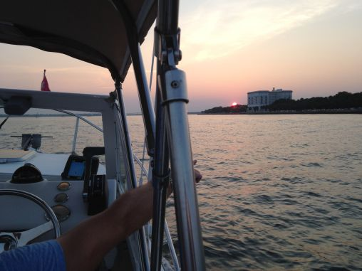 A view of Charleston's Battery Park from Captain Byrd's boat.